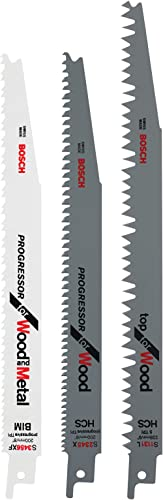 Bosch Sabre Saw Blade 3 Piece Set: Top Wood, Progressor Wood and Wood and Metal