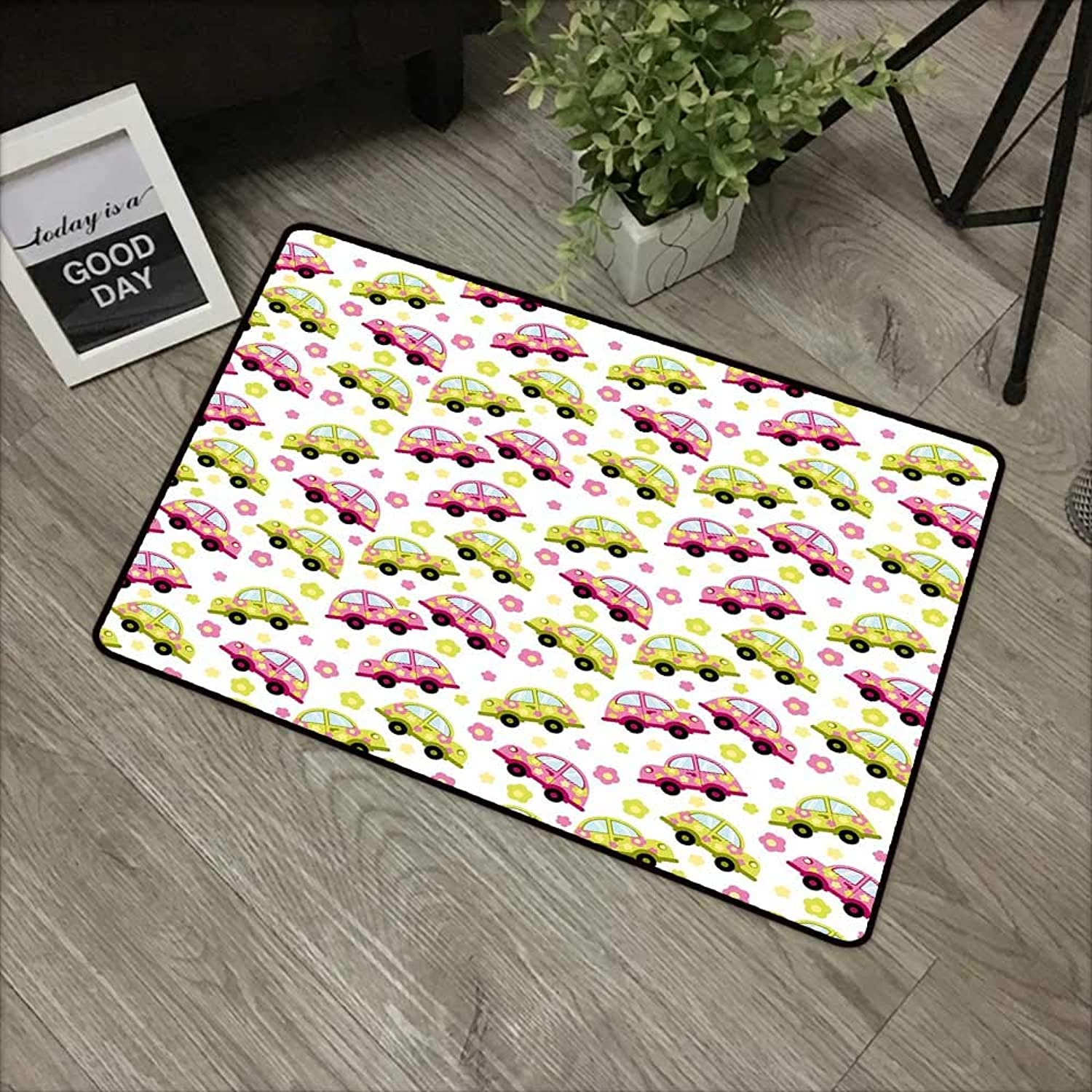 Bathroom Door mat W31 x L47 INCH Cars,Hippie Vintage Cars in Pink and Green color with Little Spring Daisies,Pink Apple Green Baby bluee Non-Slip Door Mat Carpet