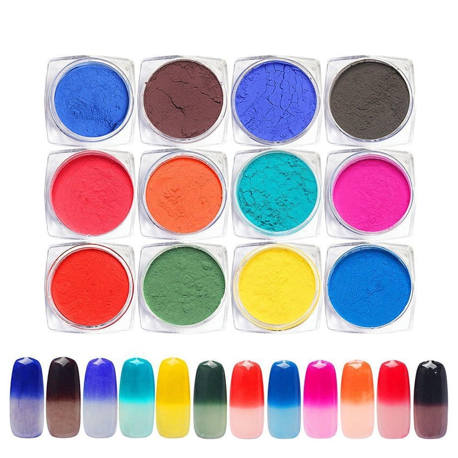 カップ記事放送12色セット 変色パウダー温度により色が変わりるネイルパウダーネイルアートネイルデザインネイルデコアクセサリー