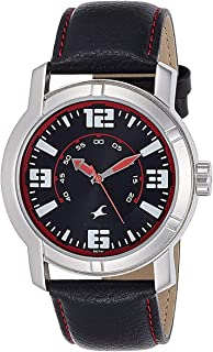 Fastrack Men's Black Dial Leather Band Watch - 3021SL04