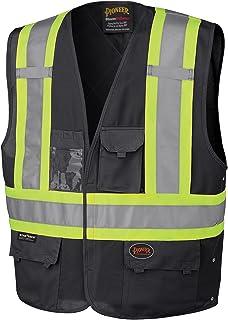 Pioneer Adjustable Reflective Safety Vest, ID & Phone Pockets, Black, L/XL, V1021570-L/XL