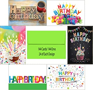 144 Blank Birthday Card Assortment Box Set Bulk with A4 Envelopes and Cards 24 Each Design for Employees, Office, or Clients, Blank Inside, Made in USA