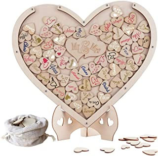 Wedding Guest Book, Y&K Homish Wooden Picture Frame, Drop Top Frame Sign Book Wooden Hearts, Rustic Wedding Decorations and The Wedding Gift (Natural)