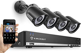 Amcrest 960H Video Security System Four 800+TVL Weatherproof Cameras, 65ft Night Vision, 984ft Transmit Range, 500GB HDD (Renewed)