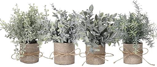 نباتات وزهور، 4 قطع من النباتات الصغيرة الاصطناعية بوعاء مجموعة وهمية خضراء نبات عشب صناعي من البلاستيك المقلد للمنزل والم...