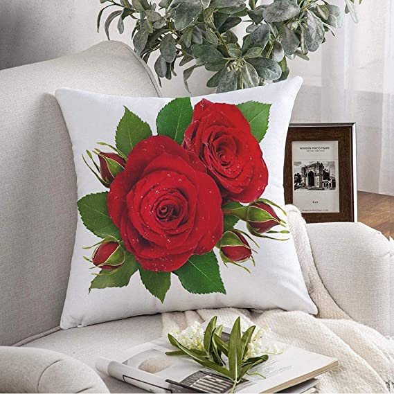 Amazon Com Throw Pillow Cover Case Flat Green Floral Closeup Bloom Lay Composition Beauty Blossom Red Rose Flowers Buds Flower Nature Square Cover For Couch Bed Bedding Home Decorative 16x16 Inch Home