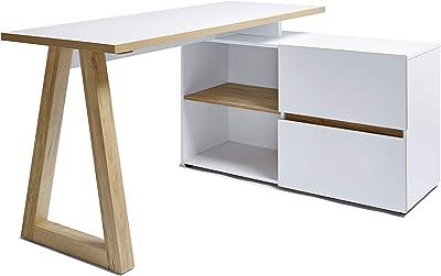 Marque Amazon -Movian Stanberg - Bureau d'angle à 2 tiroirs, 140x110x76cm, Finition chêne/blanc