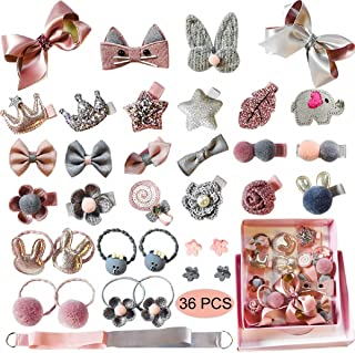 Aovie 36 Pcs Baby Girl's Hair Clips Cute Hair Bows Baby Elastic Hair Ties Hair Accessories Ponytail Holder Hairpins Set For Baby Girls Teens Toddlers, Assorted Styles