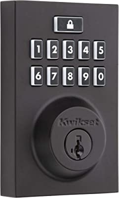 Kwikset 99140-028 SmartCode 914 Modern Contemporary Smart Lock Keypad Deadbolt with SmartKey Security and Z-Wave Plus, Iron Black