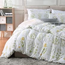 Fire Kirin Botanical Duvet Cover Set 2pc (1 Duvet Cover + 1 Pillowcase) Yellow Flowers and Green Leaves Floral Garden Patt...