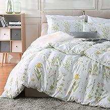 Fire Kirin Botanical Duvet Cover Set 2pc (1 Duvet Cover + 1 Pillowcase) Yellow Flowers and Green Leaves Floral Garden Patt...