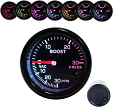 Dewhel Turbo Boost Vacuum Meter 30PSI Pressure Smoke 7 Color LED 52mm 12V Universal Auto Car Gauge Kit Interior Accessory for Honda Acura Mitsubishi Nissan Infiniti Lexus Toyota Scion BRZ etc