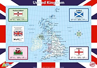 Little Wigwam United Kingdom UK Map Chart - Tear-Resistant Educational Poster (24 x 17 inches)