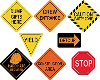 ceiba tree Traffic Signs Cutouts for Construction Themed Birthday Party Decorations for Boys Set of 8