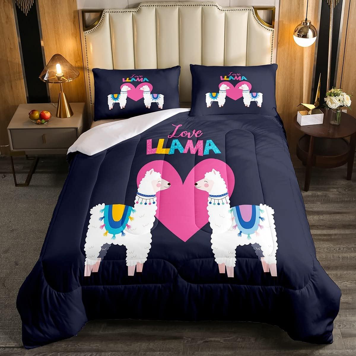 Erosebridal Cute SEAL limited product Max 61% OFF Llama Bedding Set Comforter Alpaca Lovely Sets