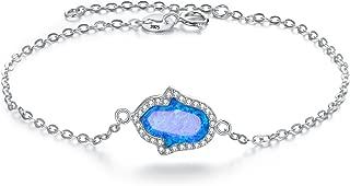 925 Sterling Silver Blue Opal Gemstone Hamsa Adjustable Bracelet Chain