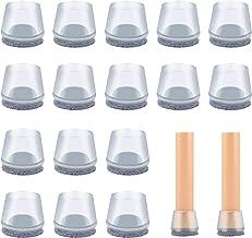 VABNEER Stoel been vloerbeschermers, 16 stks ronde transparante siliconen stoel been caps met vilt pads, stoel tafel voete...