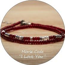 Ldurian Beaded Bracelet for Women Girls Layered Morse Code Bracelet Dainty Japanese Seed Rice Beads Boho Style Wish Gifts ...