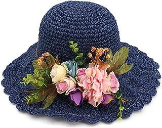 ylovego New Fashion Summer Hats for Women Flower Straw Hat Ladies Wide Brim Beach Hat Ladies Sunhat Collapsible WH406