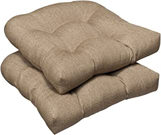 Pillow Perfect Indoor/Outdoor Wicker Seat Cushion (Set of 2) with Sunbrella Linen Sesame Fabric, 19 in. L X 19 in. W X 5 in. D