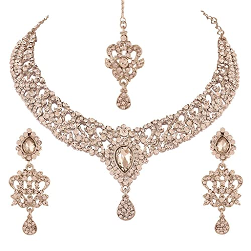 White I Jewels Gold Plated Kundan Necklace Set Jewellery with Earrings /& Maang Tikka for Women L3102W