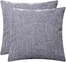 Aiwendish Burlap Linen Throw Pillow Cover 18 x 18 - Pack of 2 - Decorative Square Cushion Case Shams - Grey