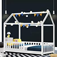 Artiss Single Bed Frame, Kids House Wooden Bed Base with 29cm Height Rail, White