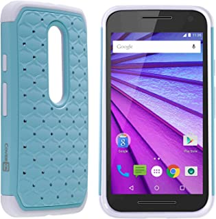 Moto G 3rd Gen Case, CoverON [Aurora Series] Cute Rhinestone Bling Studded Hybrid Diamond Cover Skin Phone Case for Motorola Moto G 3rd Generation 2015 - Light Blue & White