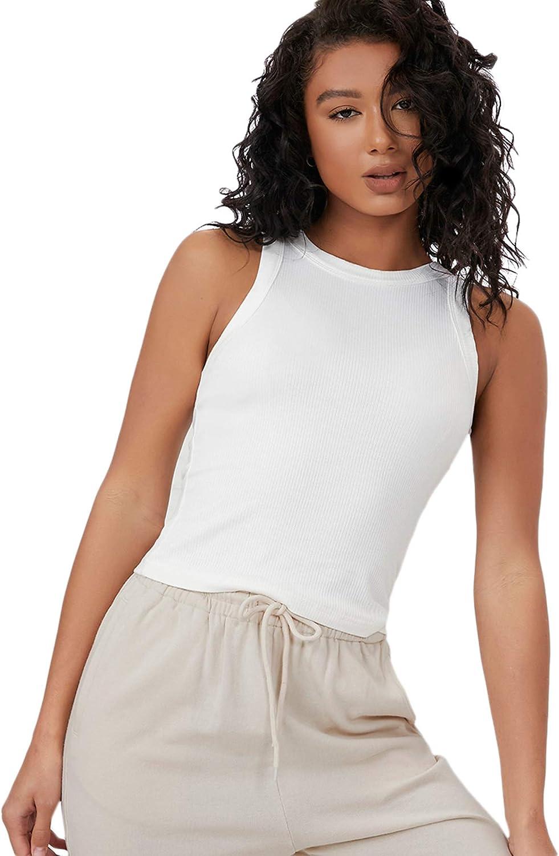 Floerns Women's Rib Knit Crewneck Sleeveless Shirts Summer Basic Tank Top