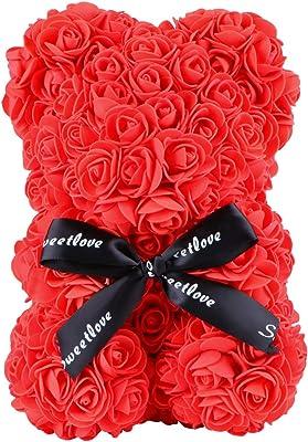 LAKIOMZ - Oso de rosa con flores artificiales para siempre, el mejor regalo de graduación, aniversario, cumpleaños, San Valentín