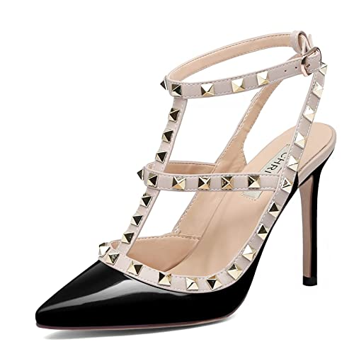 98ff22981725 Chris-T Women Pointed Toe High Heels Studded Strappy Slingback Stilettos  Leather Sandals Pumps 4