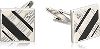Men's Square Silver and Black Cuff Link, One size