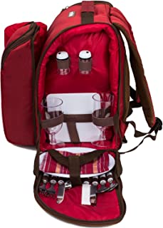 apollo walker 2 Person Red Picnic Backpack with Cooler Compartment Includes Tableware & Fleece Blanket 45