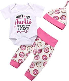 gllive Baby Girls Clothes Letter Print Romper Outfit Pants Set +Hat+Headband 3pcs Clothes (6-12 Months) White