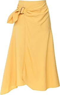 Vince Women's Side Buckle Drape Skirt Yellow