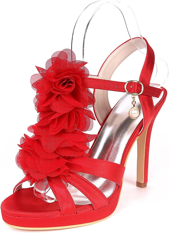 Elobaby Frauen Hochzeit Schuhe Pumps Schnalle handgemachte High Heels Runde Tanz Wei   11cm Ferse