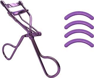 女性専門アイラッシュカーラー、 高級感ステンレス鋼ビューラー 4が付属しています替えゴムシリカゲル ラッシュリフトのまつげエクステに最適 (紫)