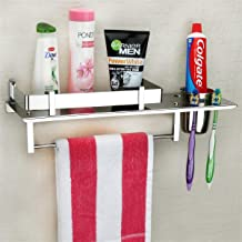 Plantex Stainless Steel 3 in 1 Multipurpose Bathroom Shelf/Rack/Towel Hanger/Tumbler Holder/Bathroom Accessories (15 x 6 I...