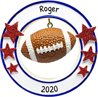 Personalized 3D Football Christmas Tree Ornament 2020 - Athlete Round Frame Star Dangle Coach Hobby College Profession Sco...
