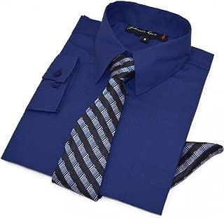 Boys Long Sleeve Dress Shirt with Tie and Handkerchief
