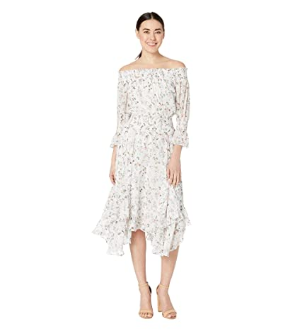 Tahari by ASL Petite Off the Shoulder Printed Swiss Dot Mini Floral Dress with Smocking Detail (Ivory Multi) Women