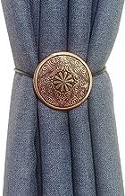 Vineland Boho Magnetic Curtain Tiebacks, 2 Pack 16 Inch Rope Holdback Metallic Decorative Holder Convenient Drape Tie Backs for Window Draperies Shower Curtains (Boho, 2 Pack)