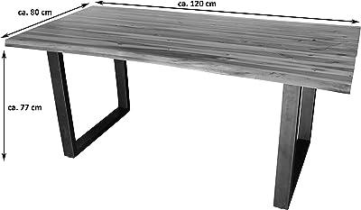 SAM Esszimmertisch Isabella Table, Acacia, Cognac/Argent, 120 x 80 cm