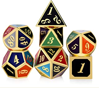 DND Metal Dice,DNDND 7 PCS Zinc Alloy Polyhedral Die with Free Metal Tin for Dungeons and Dragons D&D Roleplaying Table Games (Gold Number with 20 Colors)