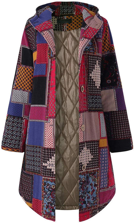 FFFG Coat Women Thicken Coats Hooded Long-Sleeve Fashion Vintage Ladies Fleece Button Long Outwear Cloth Winter Warm