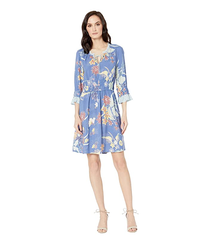 Tribal Soft Challis 3/4 Sleeve Dress with Shirring Detail (Chambray) Women