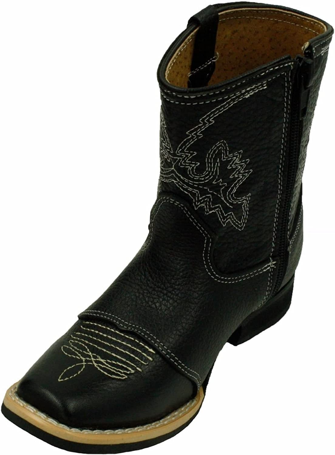 Kids Unisex Genuine Leather Western Side Boo Rodeo overseas Zipper Cowboy Max 67% OFF