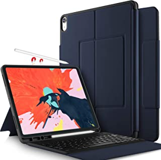 Luibor Keyboard Case for iPad Pro 12.9 2018 -Ultra Thin Stand Case with Attached Wireless Keyboard & Pen Slot Fitting Apple iPad Pro 12.9 2018 Tablet(Not Fit 2017 Version) (Blue)