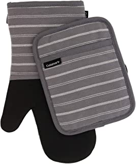 Cuisinart Neoprene Oven Mitts and Potholder Set-Heat Resistant Oven Gloves to Protect..