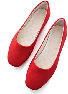 Hee grand Women's Pointy Toe Slip On Solid Comfortable Ballet Shoes Square Mouth Flats Shoes